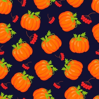 Orange pumpkins vector seamless pattern.