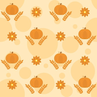 Orange pumpkins with wheat ears and flowers decorated background.