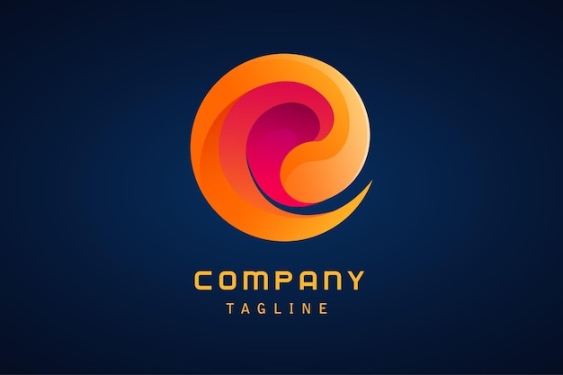 Orange purple abstract vortex tornado gradient logo company