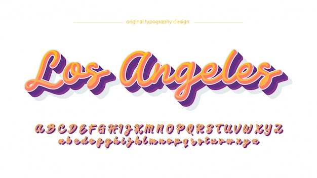 Orange purple bold handwritten typography