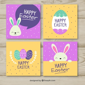 Orange and purple easter card set