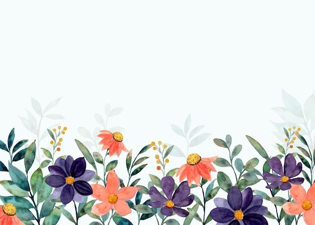 Orange purple flower garden background with watercolor