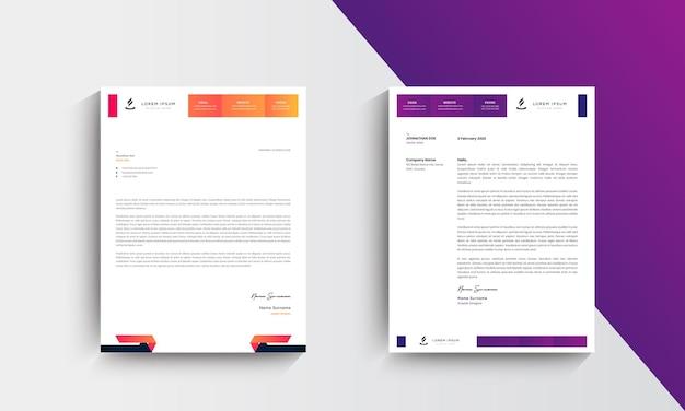 Orange and purple modern business letterhead design template