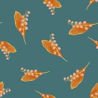 オレンジ色のランダムなスズラン春の花のシームレス パターン