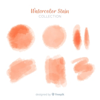 Orange realistic watercolor stain collection
