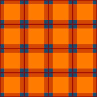 Orange red blue tartan seamless background