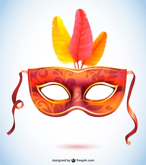 Orange and red carnival mask