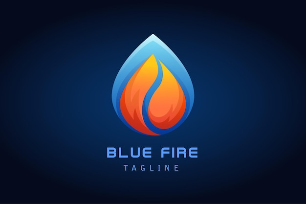 Orange red fire with blue water drop gradient logo for company