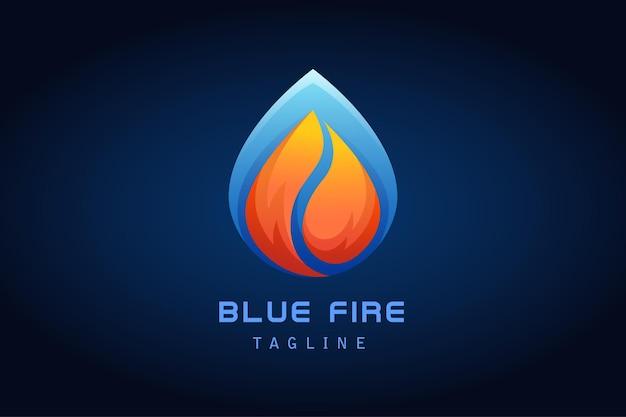 会社の青い水滴グラデーションロゴとオレンジ色の赤い火