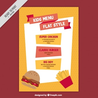 Orange and red menu for kids in flat design