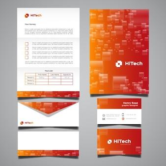 Orange and red stationery design