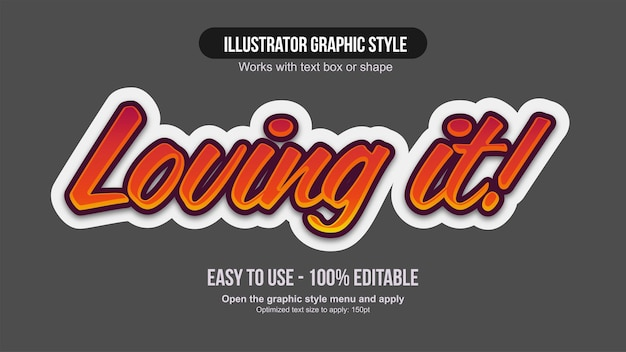 Orange and red sticker style calligraphy text effect