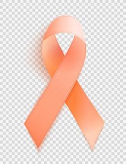 Orange ribbon a symbol of leukemia. vector illustration