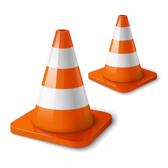 Orange road cones with stripes.
