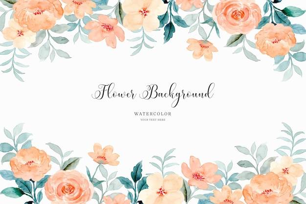 Orange rose flower frame background with watercolor