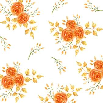 Orange rose flower pattern