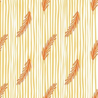 オレンジ色のローズマリーのシルエットは、シンプルな植物学スタイルのシームレスなパターンです。白と黄色の縞模様の背景。生地のデザイン、テキスタイルプリント、ラッピング、カバーに最適です。ベクトルイラスト。