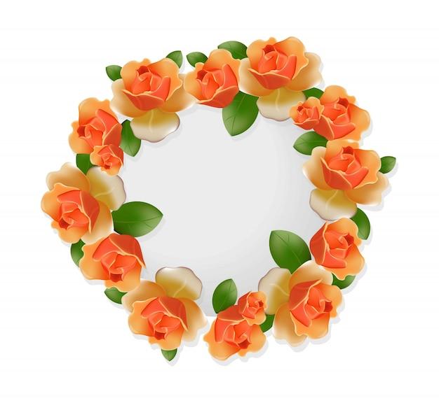 Orange roses round wreath frame decor