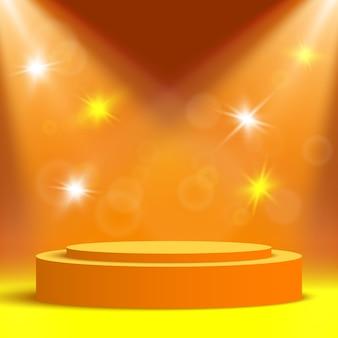 スポットライトとフレアのあるオレンジ色の丸い表彰台。ペデスタル。授賞式のステージ。