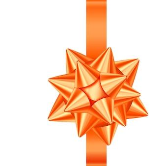 オレンジ色のサテンのギフトリボンと弓が分離されました