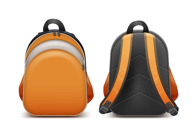 Orange school backpack in front and back side view.  on white background
