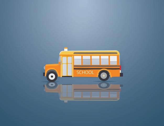 Orange school bus on the blue background