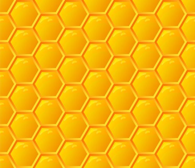 オレンジのシームレスな蜂蜜の櫛パターン。