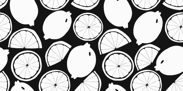 オレンジ色のシームレスパターン。手描きの果物のイラスト。