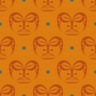 폴리네시아 부족의 마스크와 오렌지 원활한 패턴입니다.