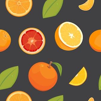 Orange seamless vector pattern on white background, fruit wallpaper