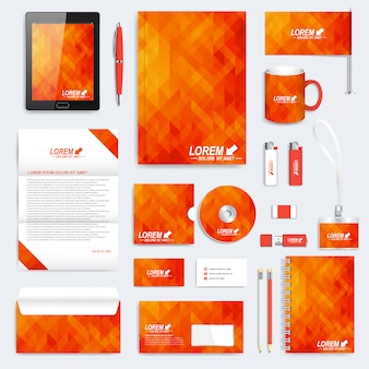 Orange set of corporate identity template. modern stationery. background with orange and yellow triangles. business, science, medicine and technology design. branding design.