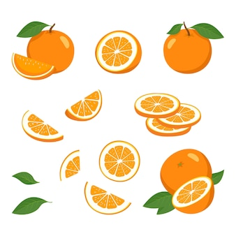 Orange set with slices with leaves