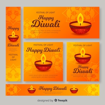 Orange shades of diwali web banners