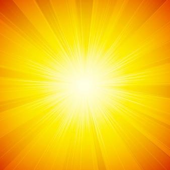 Оранжевый блестящий фон солнца с солнечными лучами, солнечными лучами.