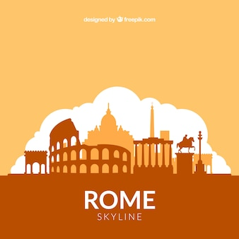 Orange skyline design of rome