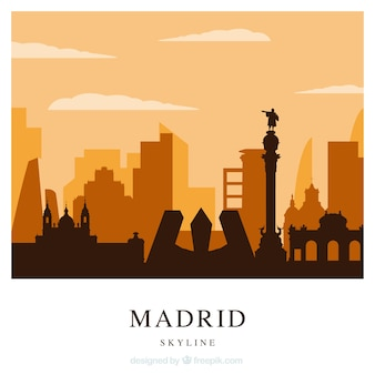 Orange skyline of madrid