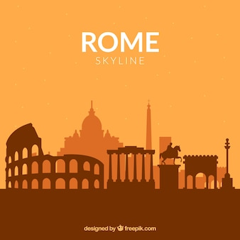ローマのオレンジ色のスカイライン