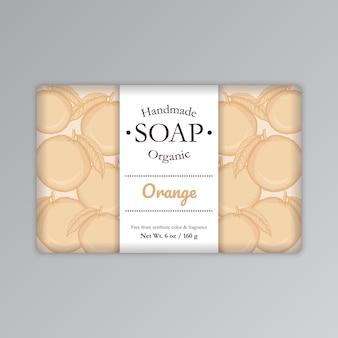 Orange soap bar label template vector illustration packaging