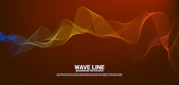 Orange sound wave line curve on red background.