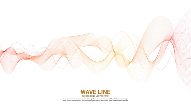 Orange sound wave line curve on white background. element for theme technology futuristic vector