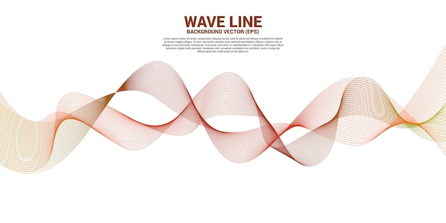 Orange sound wave line curve on white background.