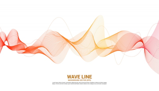 Orange sound wave line curve on white background