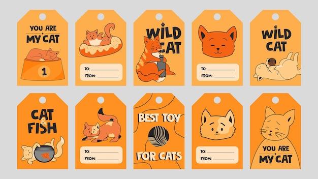 Modello di tag speciale arancione con simpatici gattini. Vettore gratuito