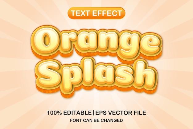 오렌지 스플래시 3d 편집 가능한 텍스트 효과