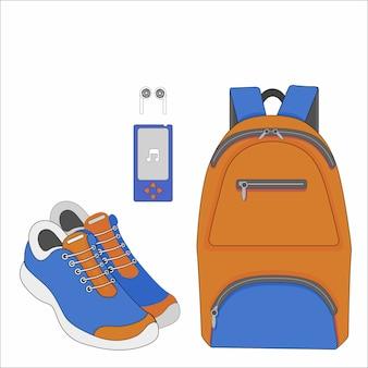 오렌지 스포츠 가방 스니커즈 및 mp3 플레이어