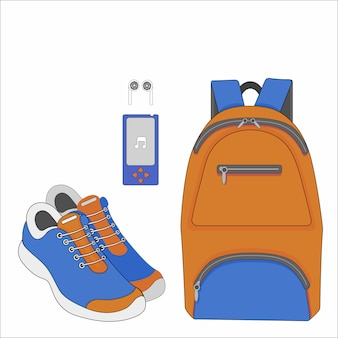 Orange sport bag sneakers and mp3 player