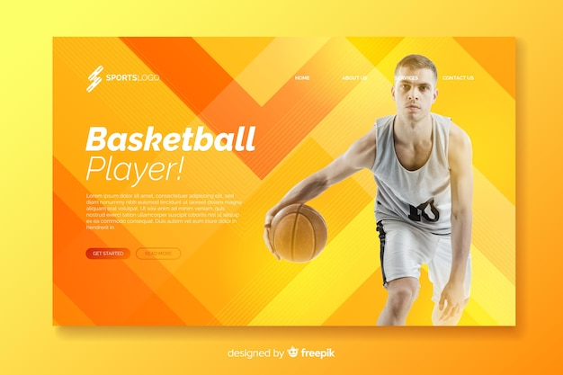 Orange sport landing page with photo