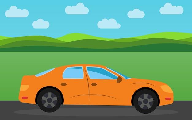 昼間の自然の風景を背景にオレンジ色のスポーツカー。ベクトルイラスト。