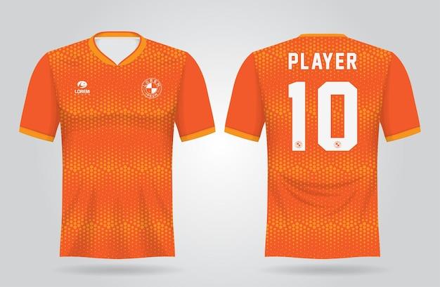 팀 유니폼과 축구 티셔츠 디자인을위한 오렌지 스포츠 저지 템플릿