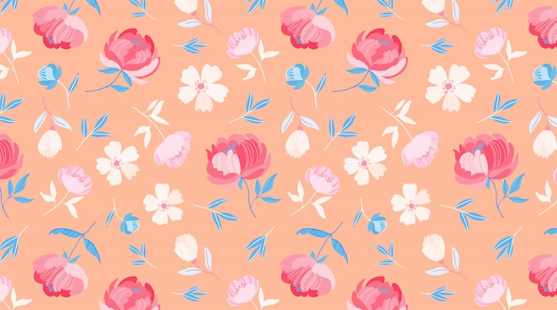 Orange spring flower pattern. beautiful round stylised peony flowers on the pastel orange background. minimalistic seamless floral design for web, fabric, textile, wrapping paper. cute flowers.
